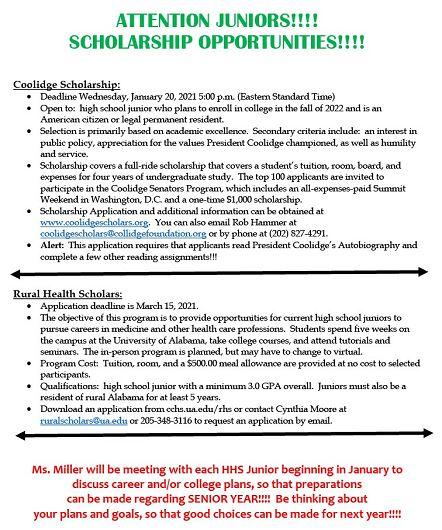 Scholarships for Juniors