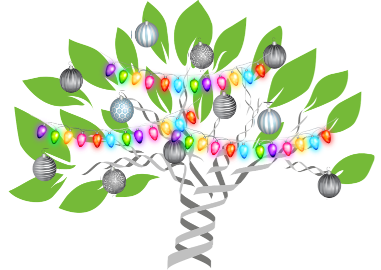 DNA tree graphic with Christmas lights and ball ornaments to illustrate Ancestry Library Edition free access extension through December 2020