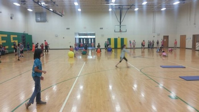Obstacle course in the gym.