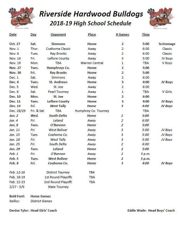 HS Basketball Schedule