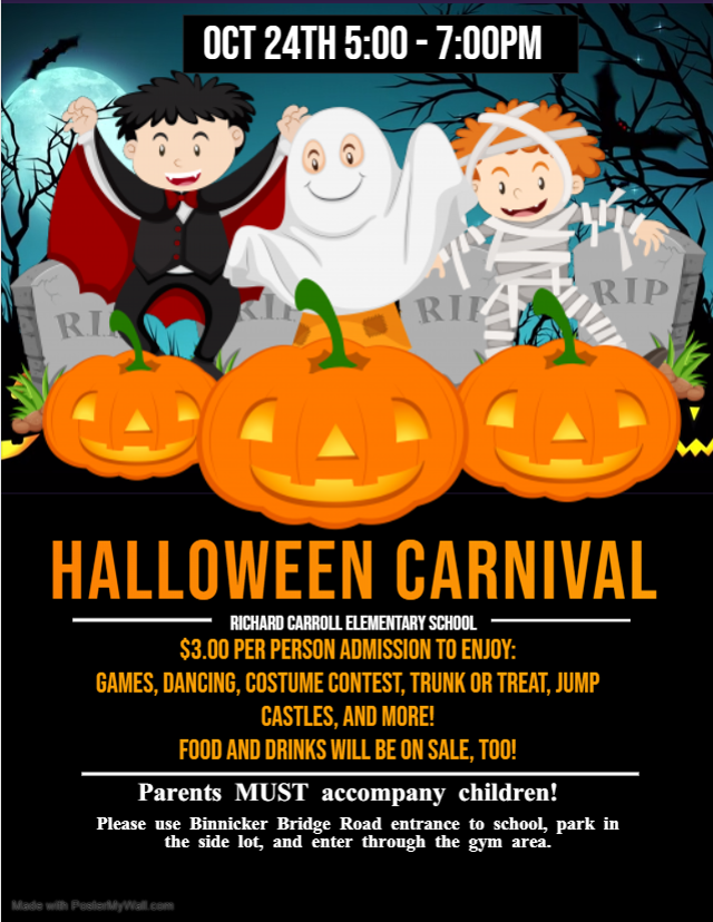 Halloween Carnival October 24th 5 to 7.