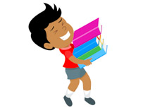 cartoon boy carrying books