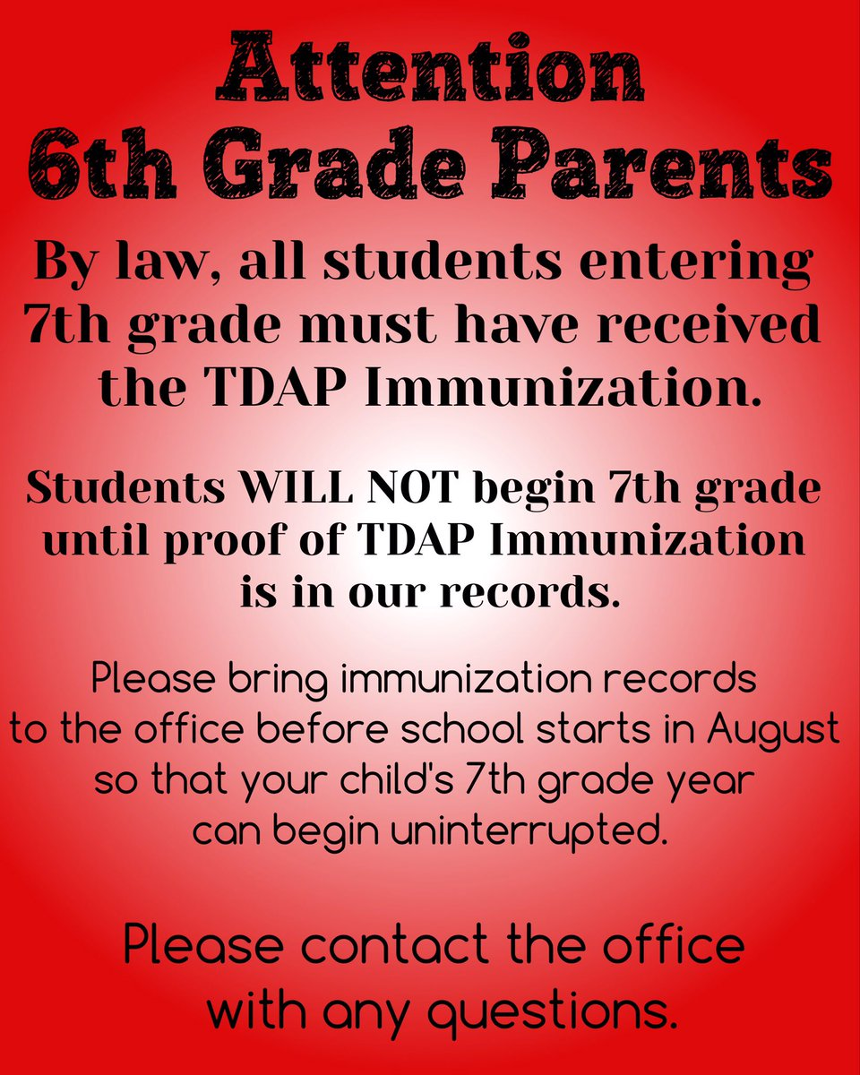 Attention 6th Grade Parents