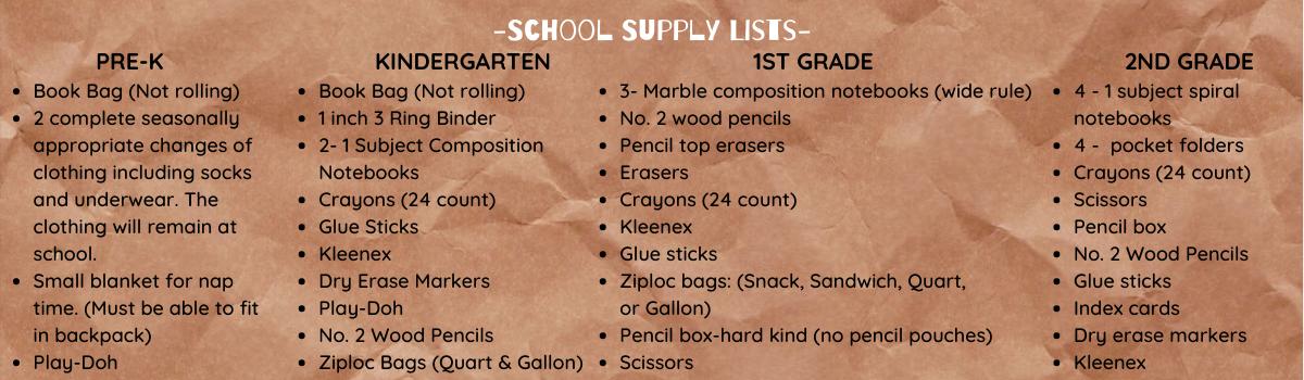 Supply List Pre-K through 2nd Grade