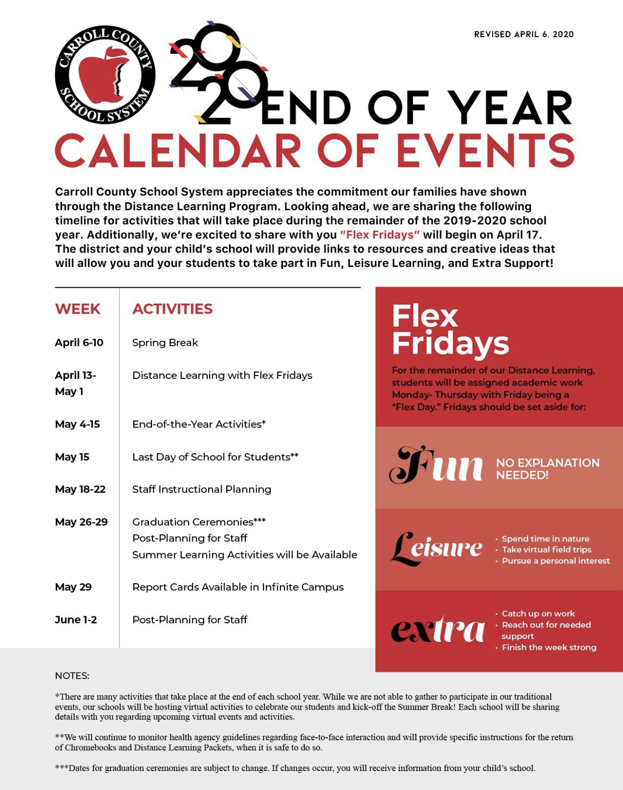 2020 End of Year Calendar of Events