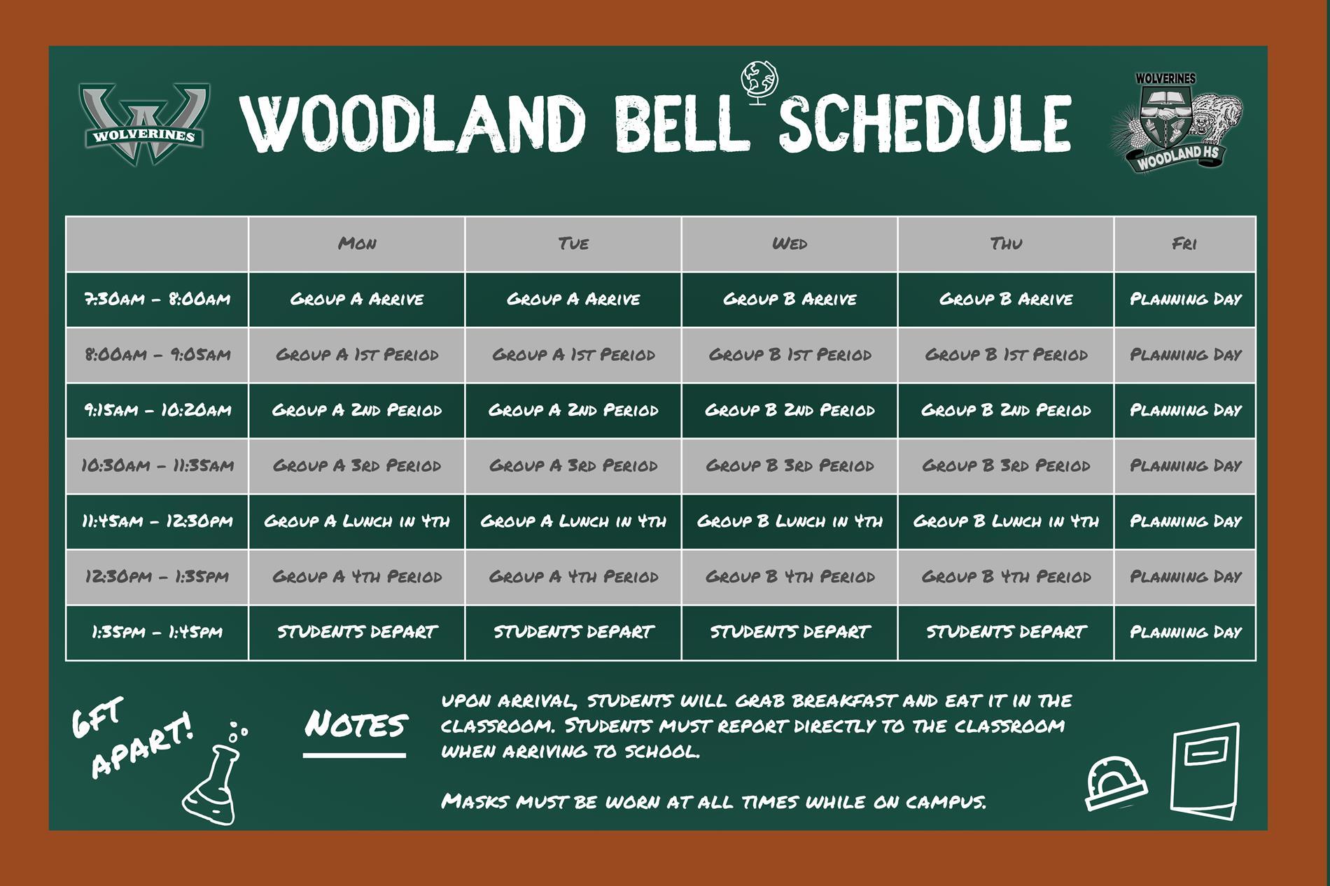 Woodland High School's Bell Schedule