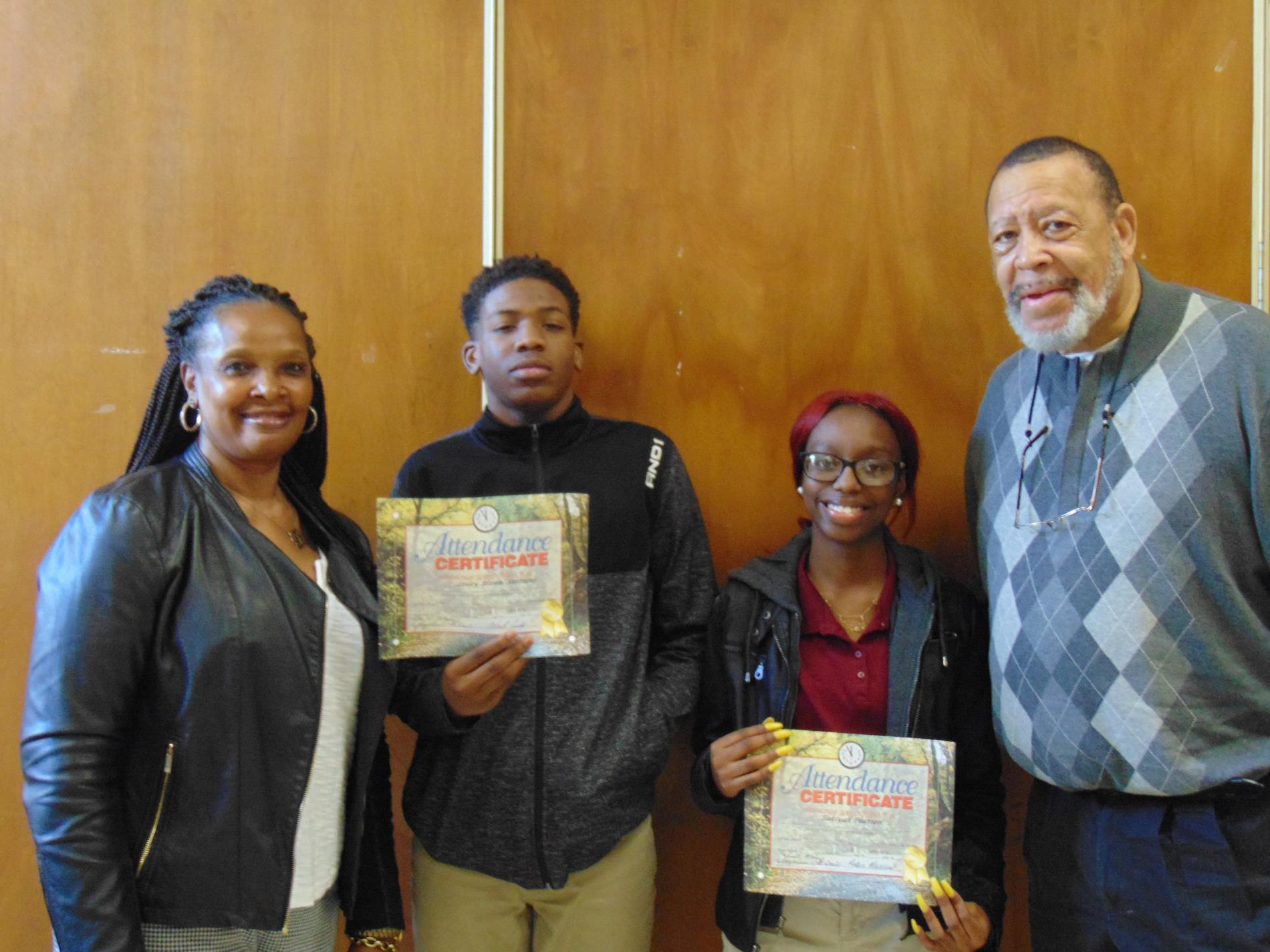 Lesley Brown and Takayia Pearson got improved attendance awards