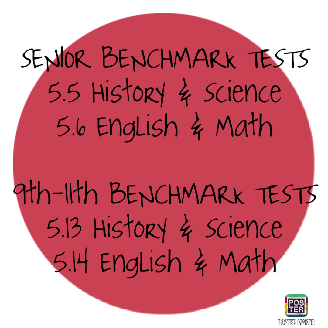 BENCHMARK TESTS May 5-6 and May 13-14