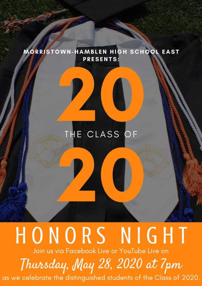 Morristown-Hamblen High School East presents the Class of 2020 Honors Night Join us via Facebook Live on Thursday, May 28 2020 at 7pm as we celebrate the distinguished students of the Class of 2020