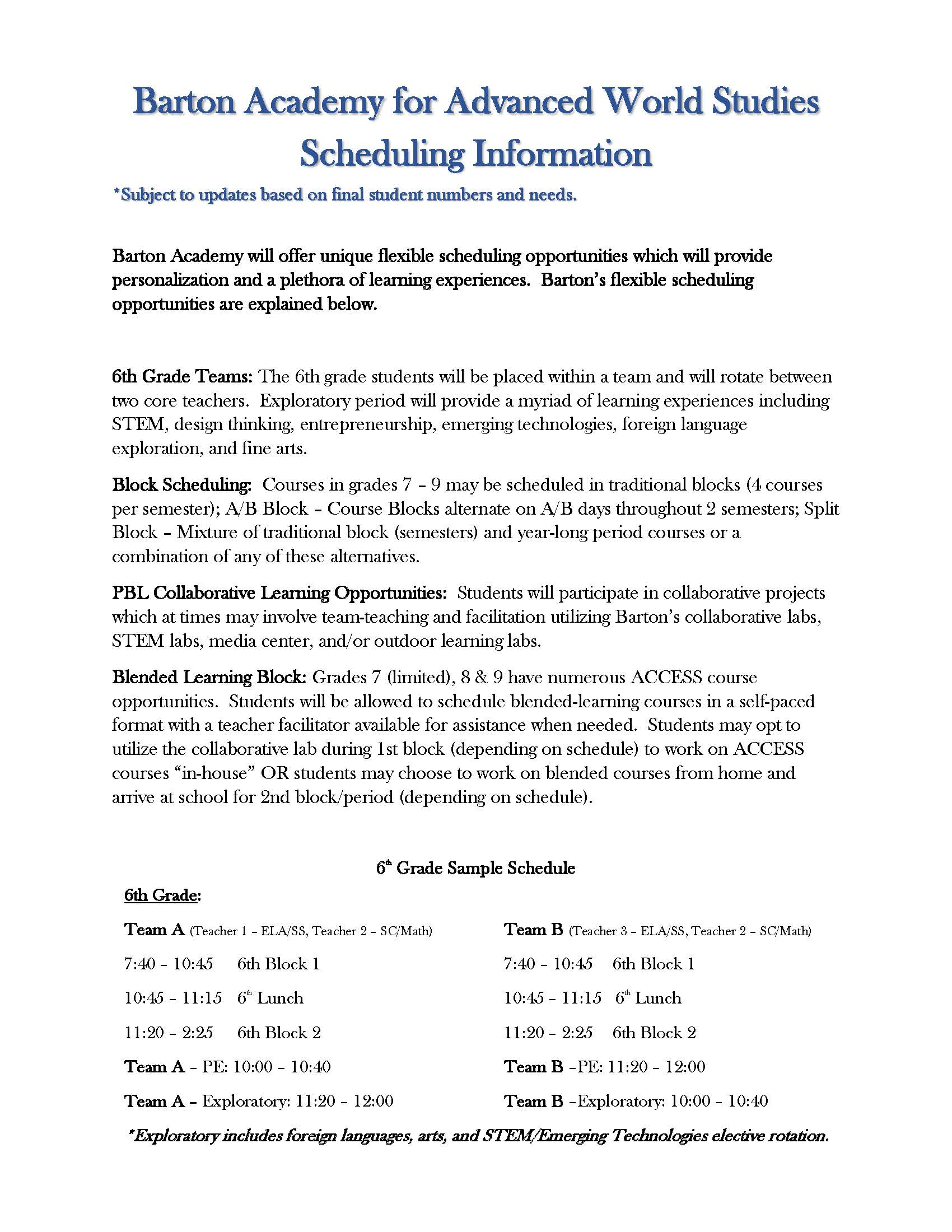 Schedule Info and 6th Grade Sample