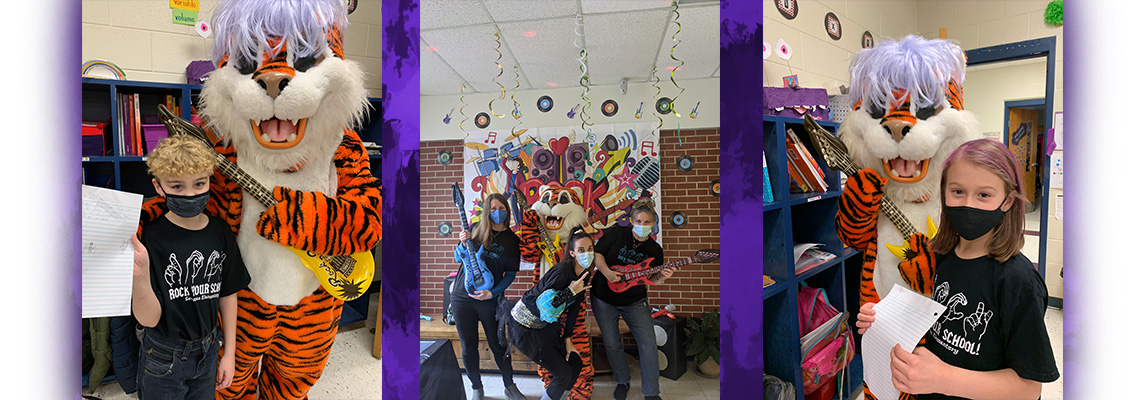 tiger mascot and rock your school day