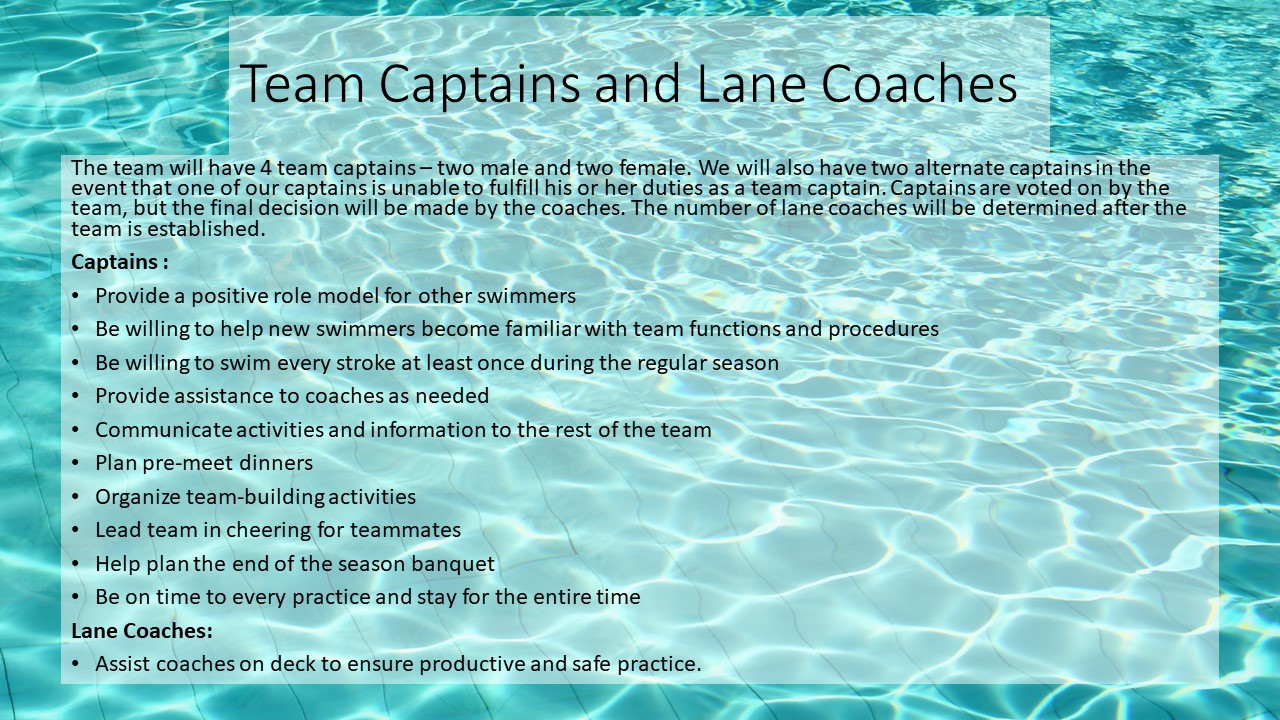 Team Captains and Lane Coaches