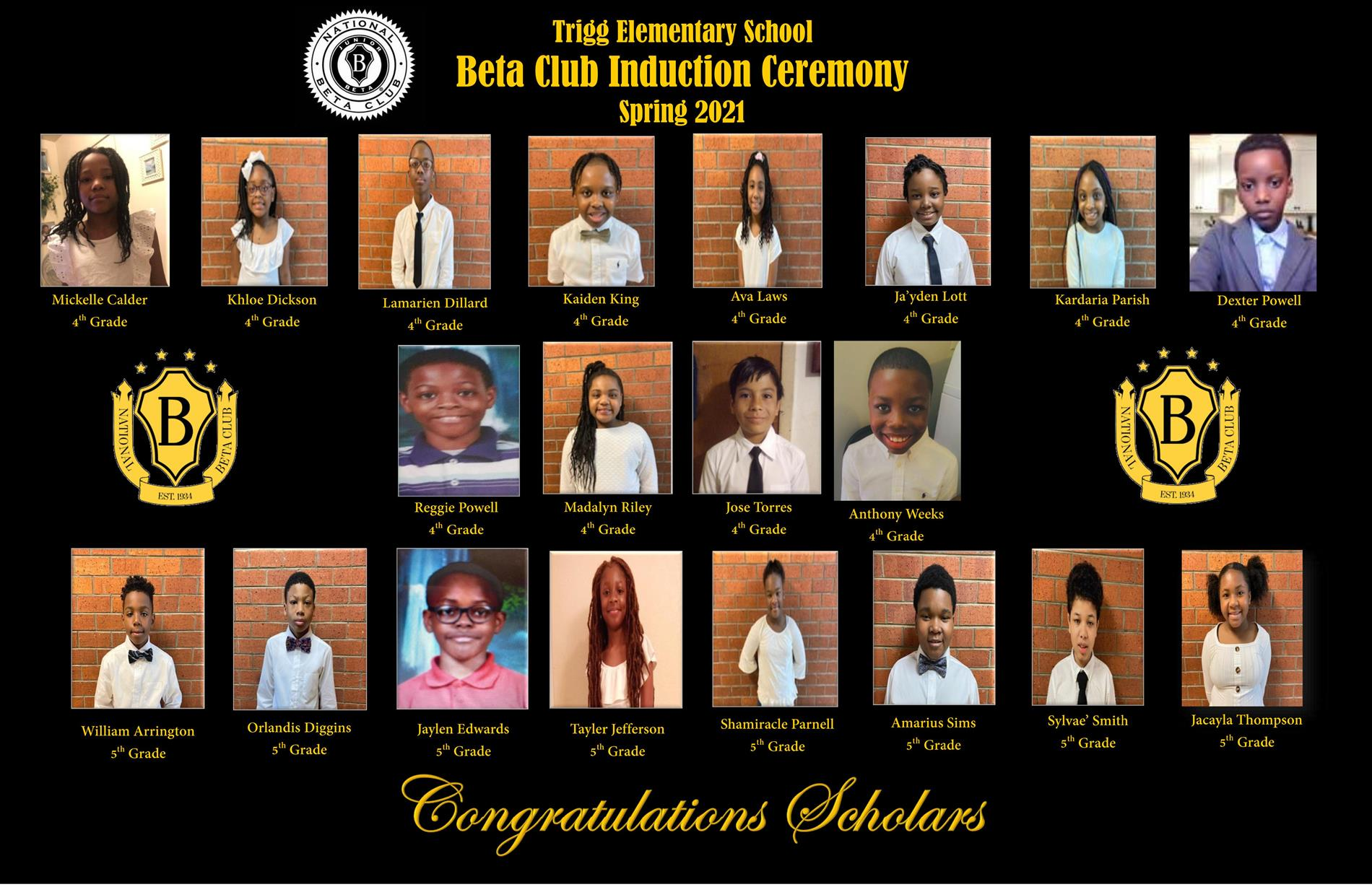 Trigg's Inaugural Beta Club Inductees!