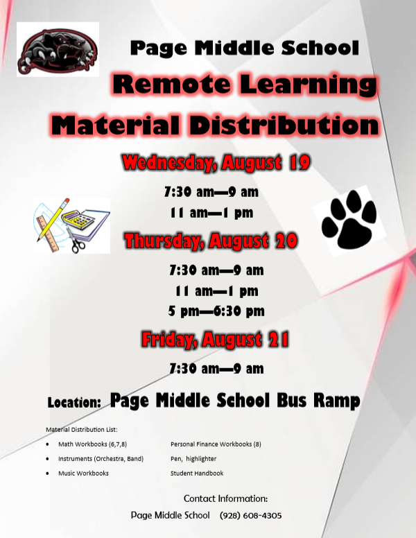 Page Middle School Materials Distribution