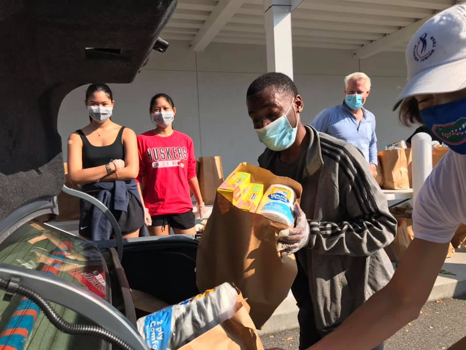 Loading Up a Car with Food Drop Bags