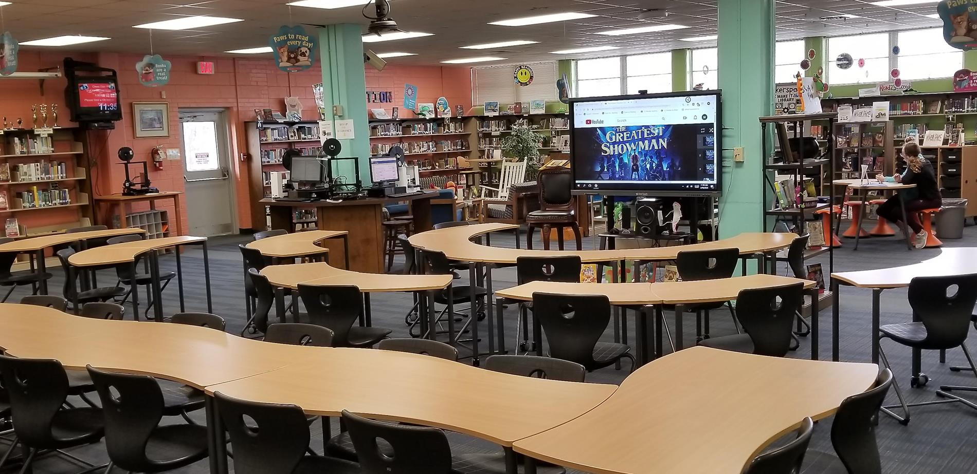 Picture of the classroom area of BCS Media Center