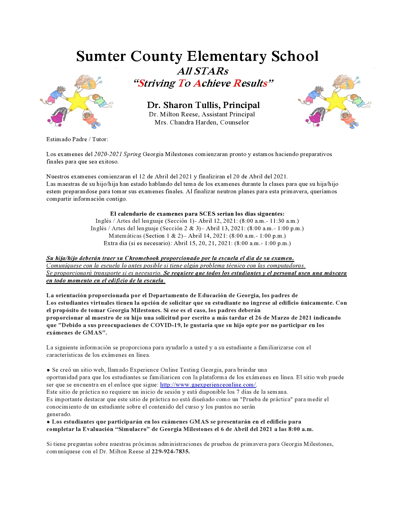 GMAS Letter to Parents - Spanish