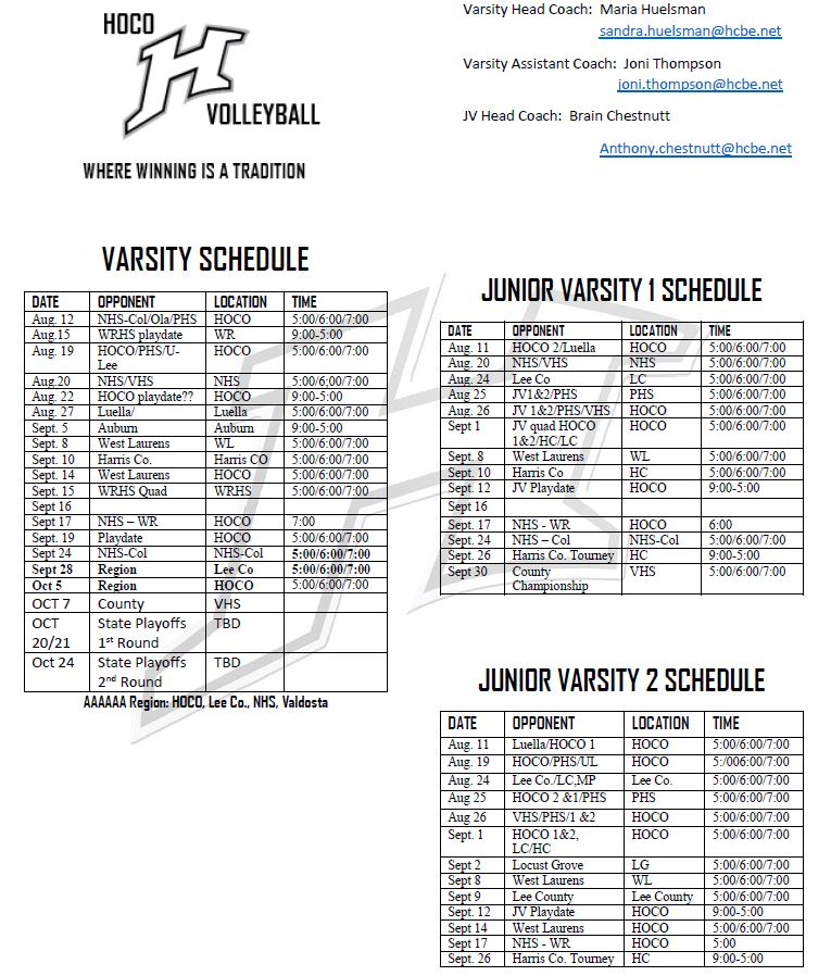 Volley Ball Schedule