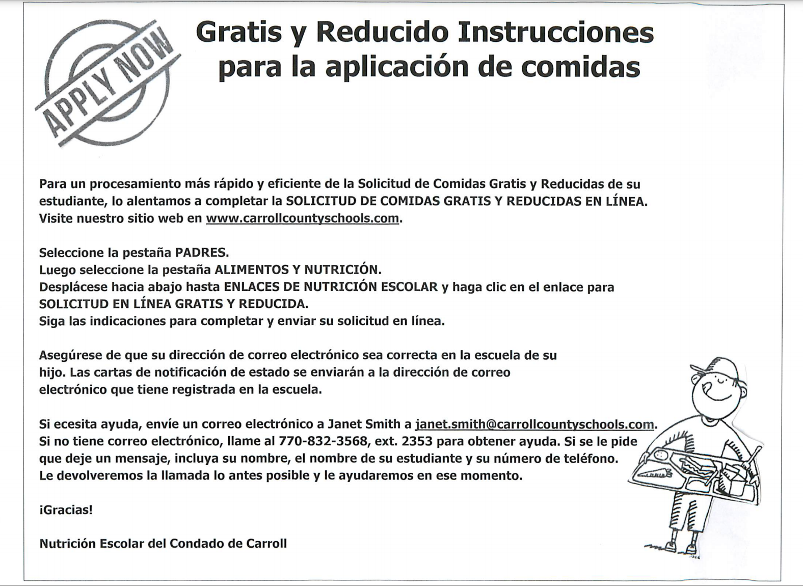 Free and Reduced Lunch Application Spanish