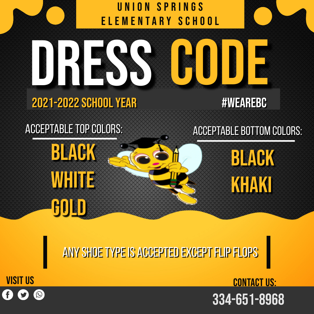 New dress code for the 2021-2022 school year. Black, gold or white shirt and black or khaki pants