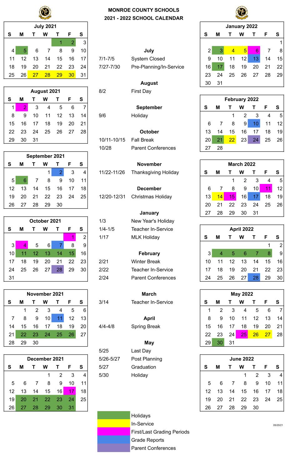 Y21-22 Calendar