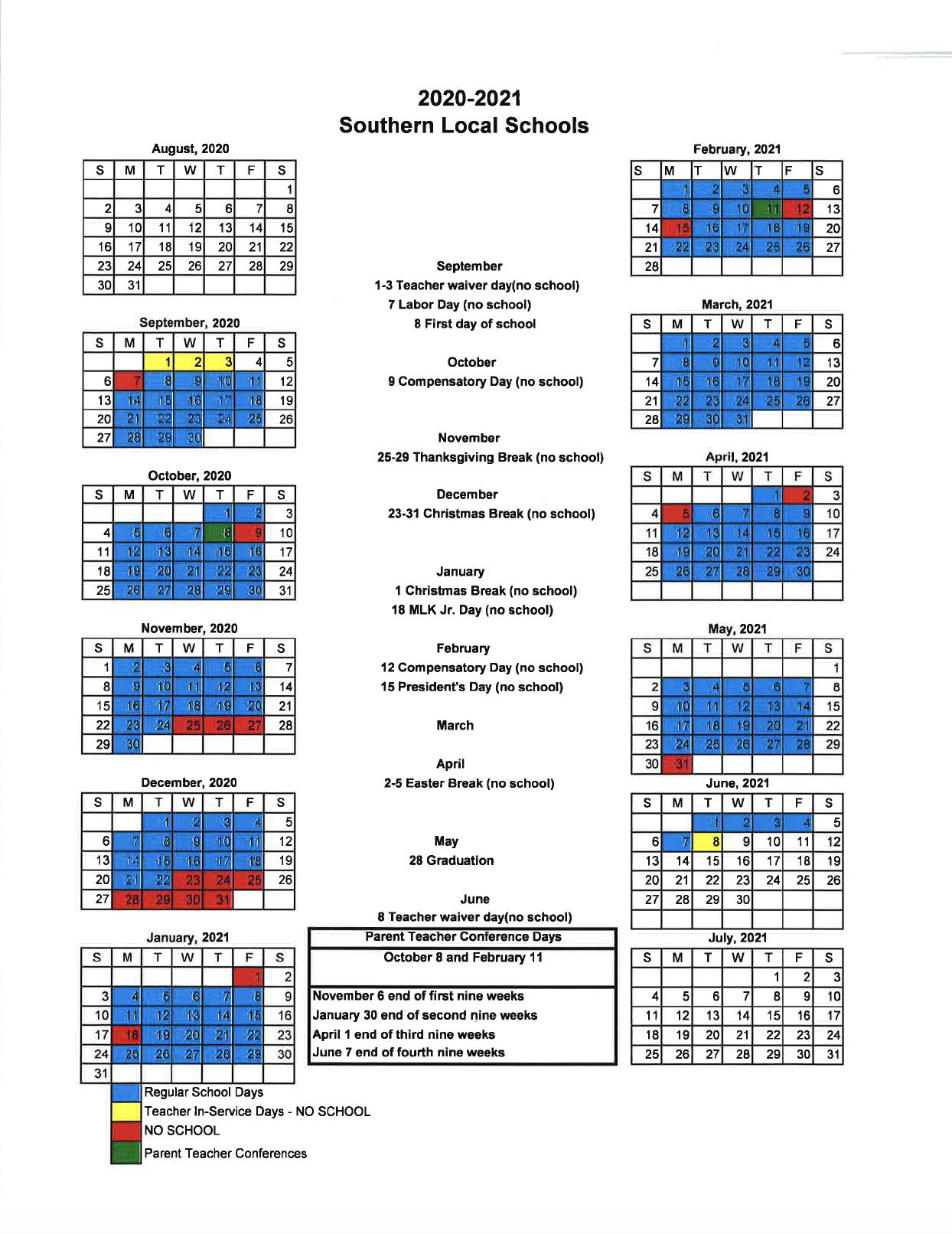 Revised 2020-21 School Year Calendar
