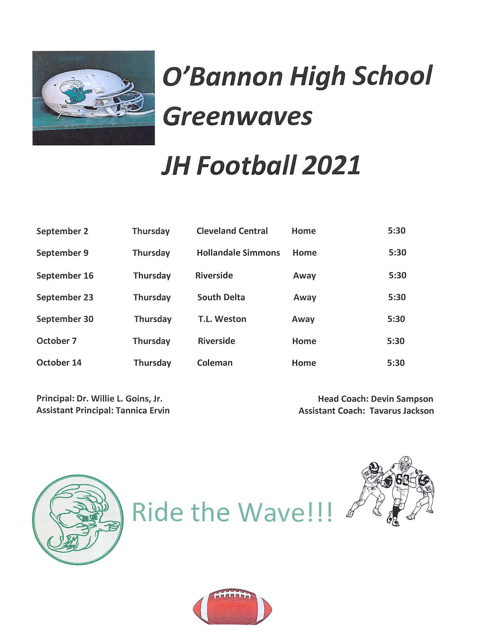 2021 JH FB Sched