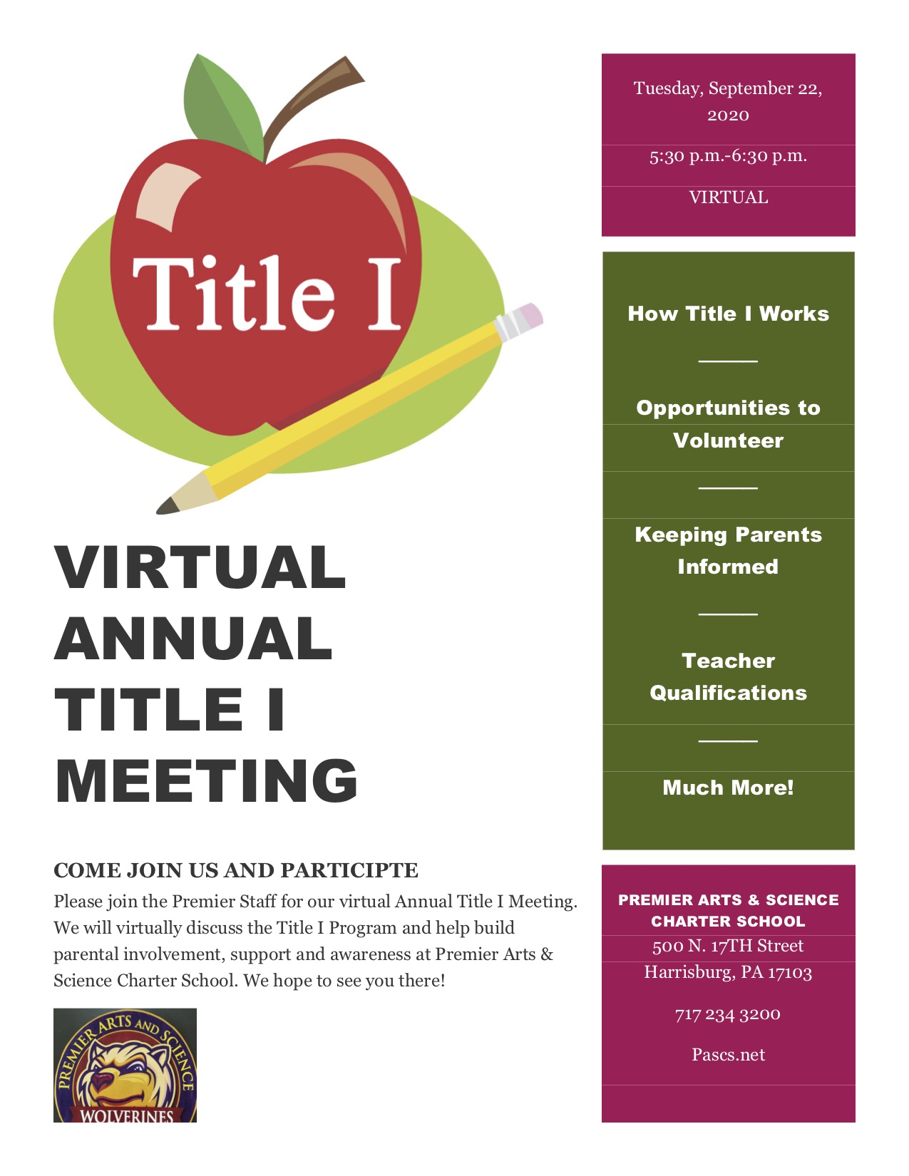 Virtual Annual Title I Meeting