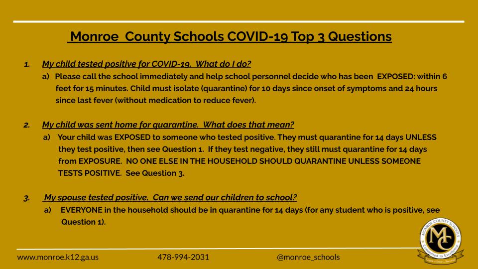 COVID Top 3 Questions