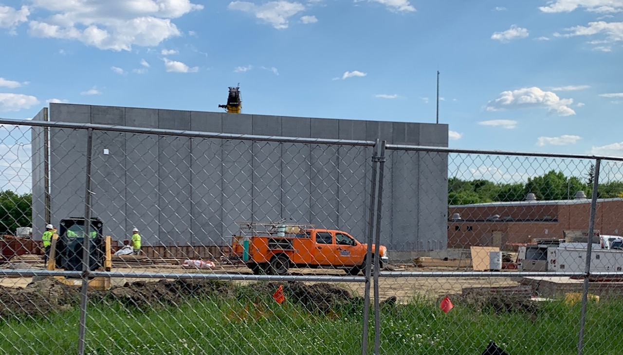 Inner gym walls are being set