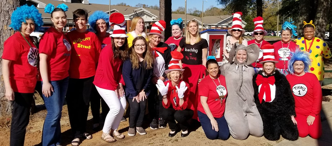 Teachers dressed up for Dr Seuss Day