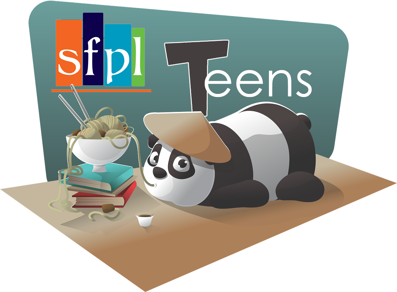 sfpl Teens title image with panda lying on a table slurping noodles out of a ramen bowl
