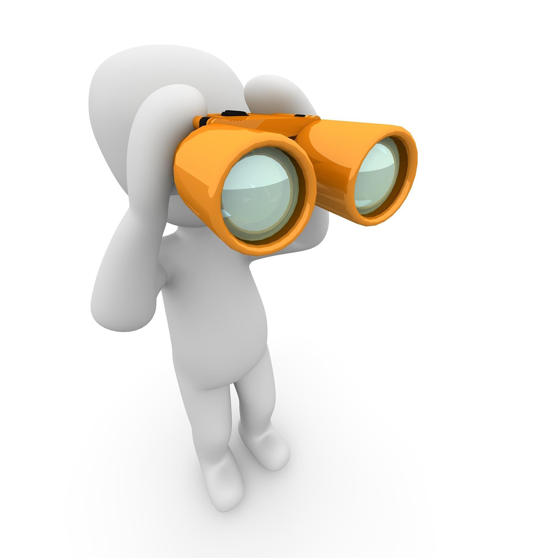 human figure looking through binoculars