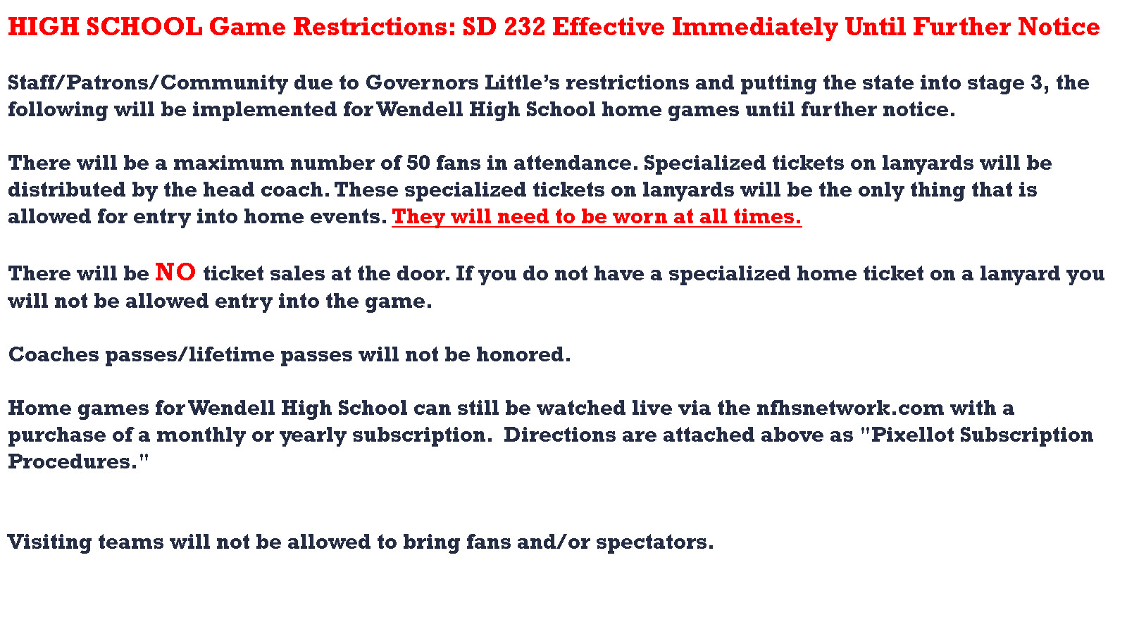 Sports Restrictions