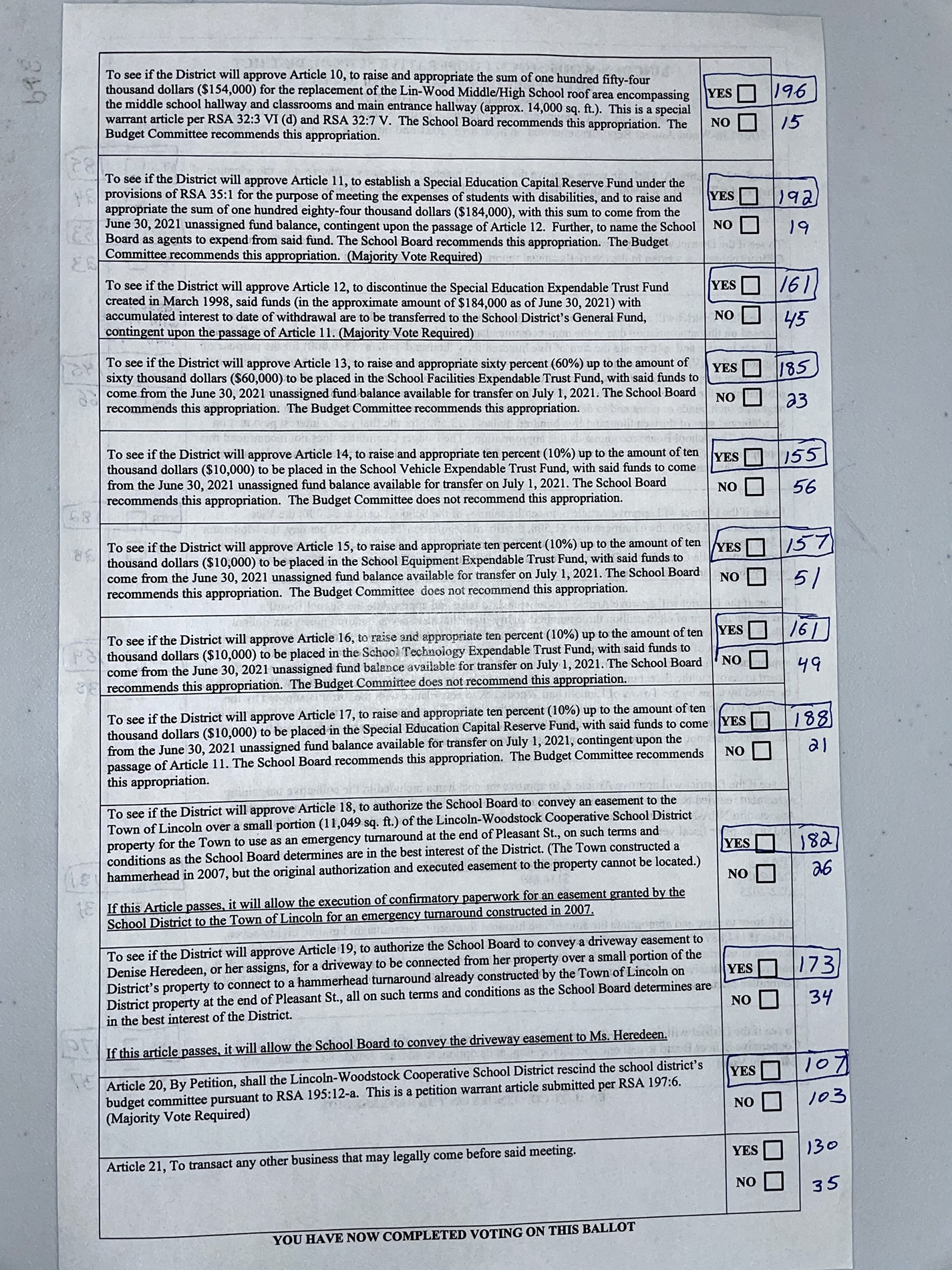 Alternate Ballot Results Page 2