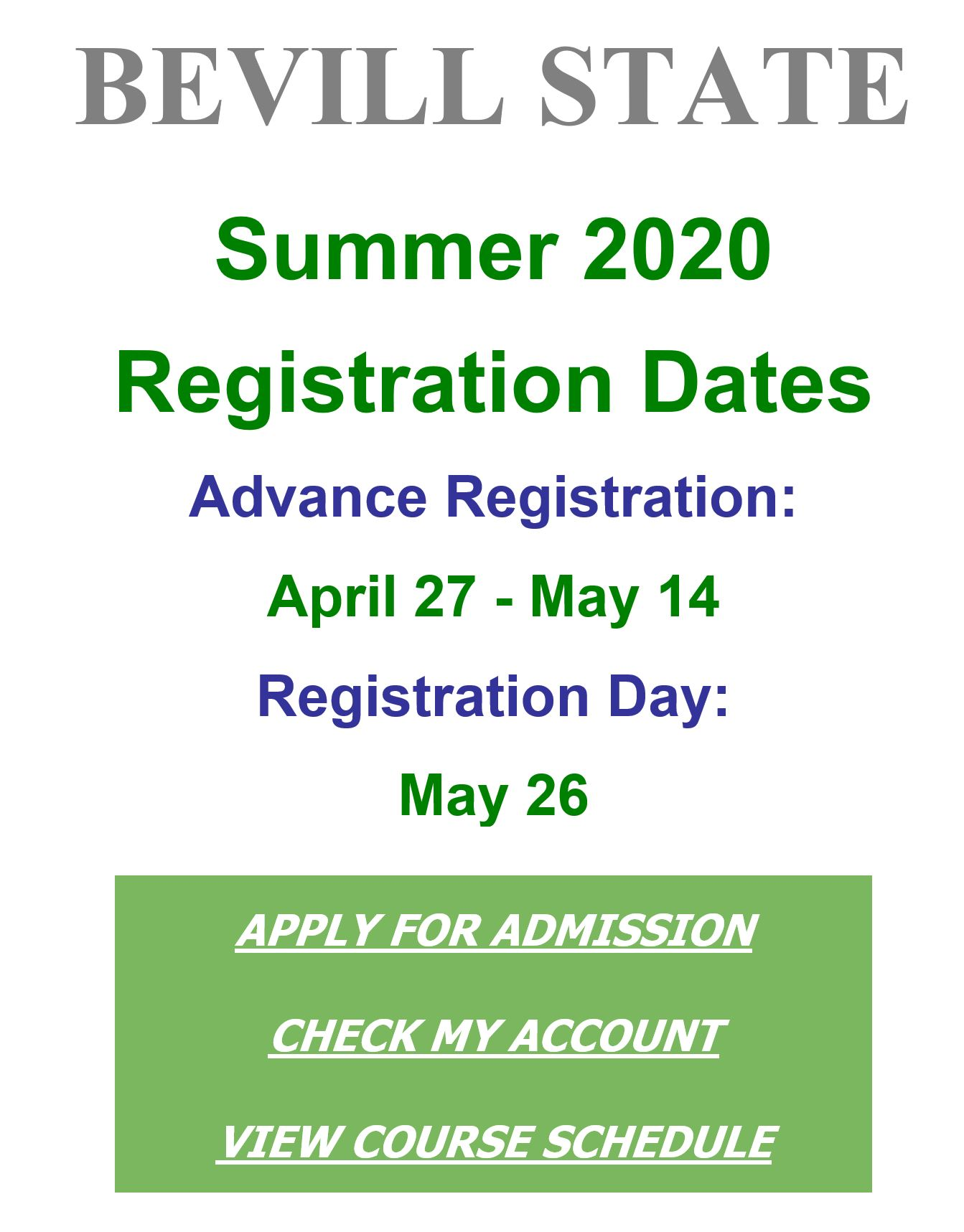 Bevill Summer Registration