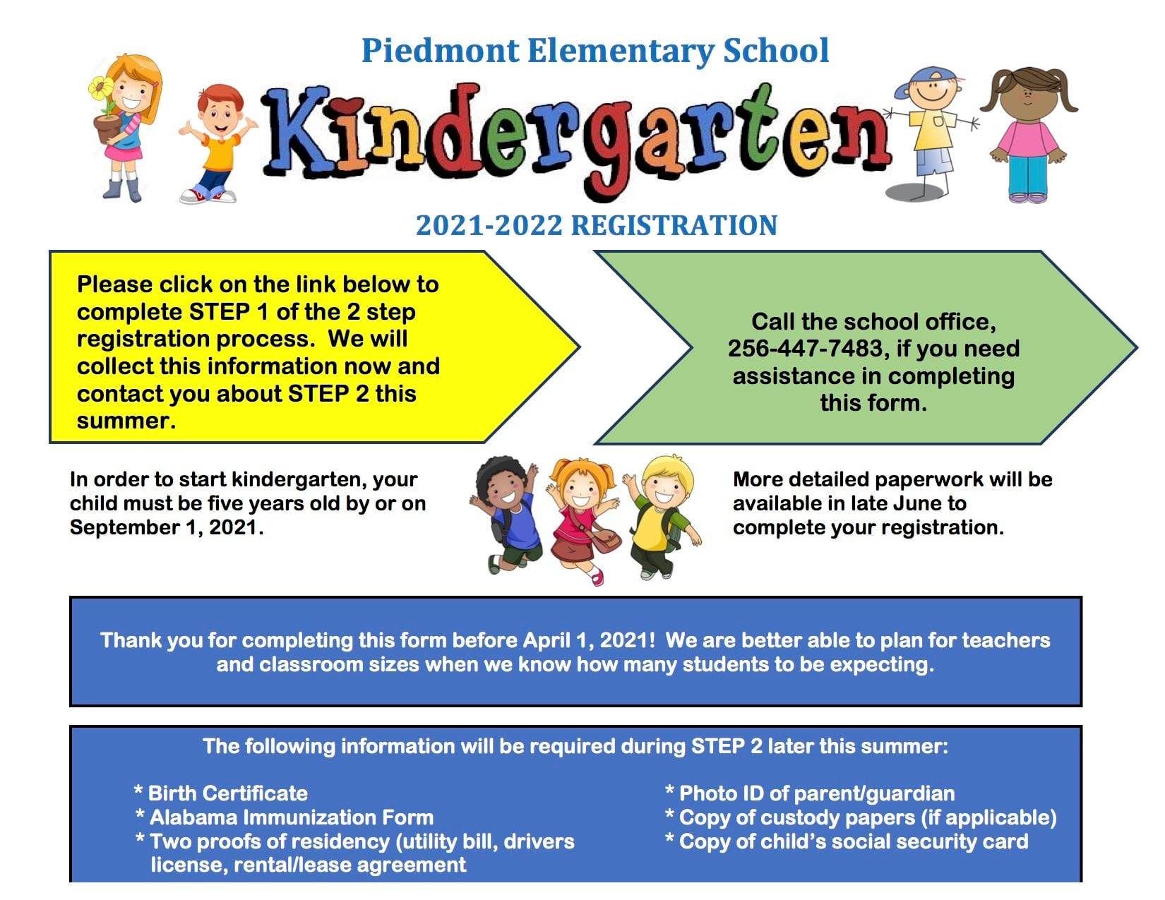Kindergarten graphic with information about enrolling students