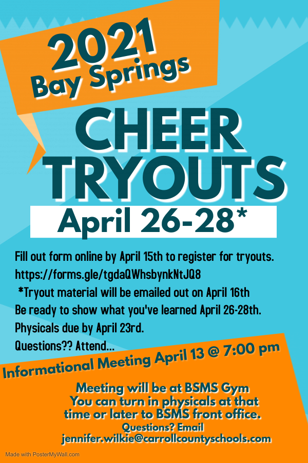 BSMS Cheerleading Tryout Information 2021