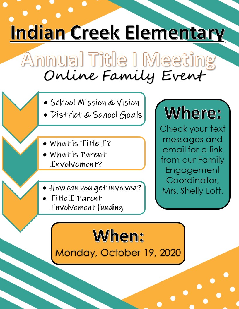 Virtual Annual Title I Parent Meeting 10-19