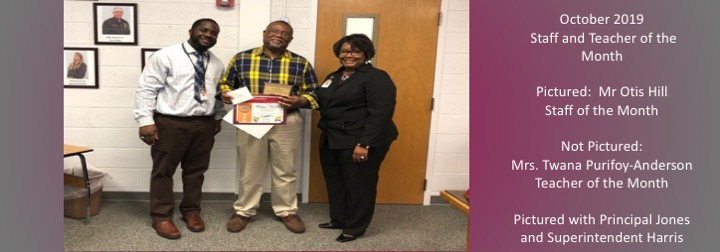October 2019 Teacher and Staff of the Month