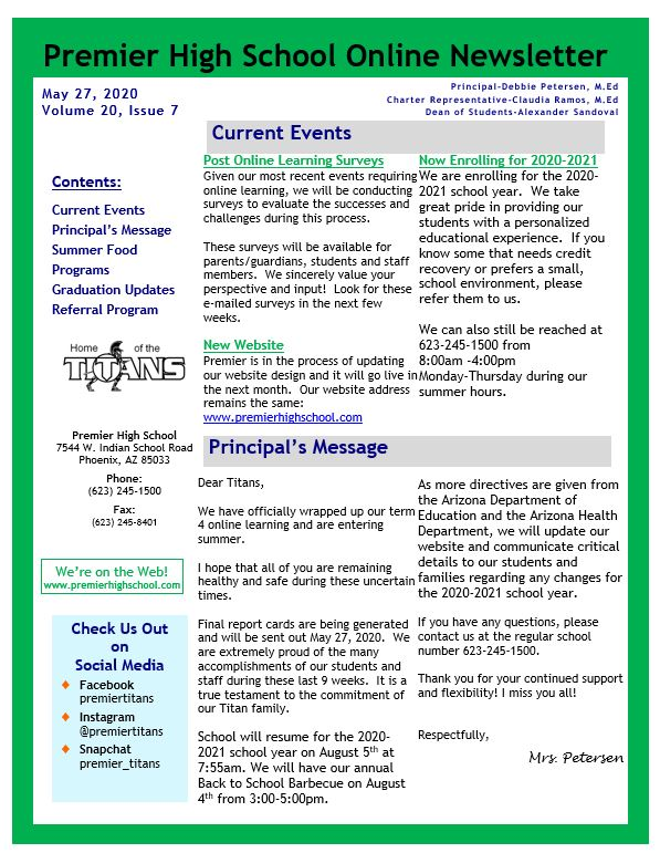 image of page 1 newsletter