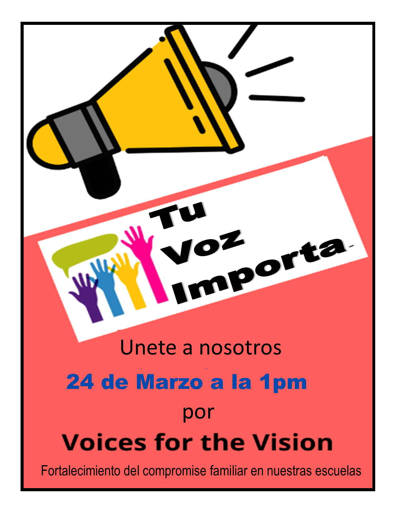 Spanish version of Your Voice Matters flyer
