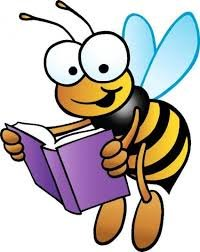 Cartoon Bee Holding a Book