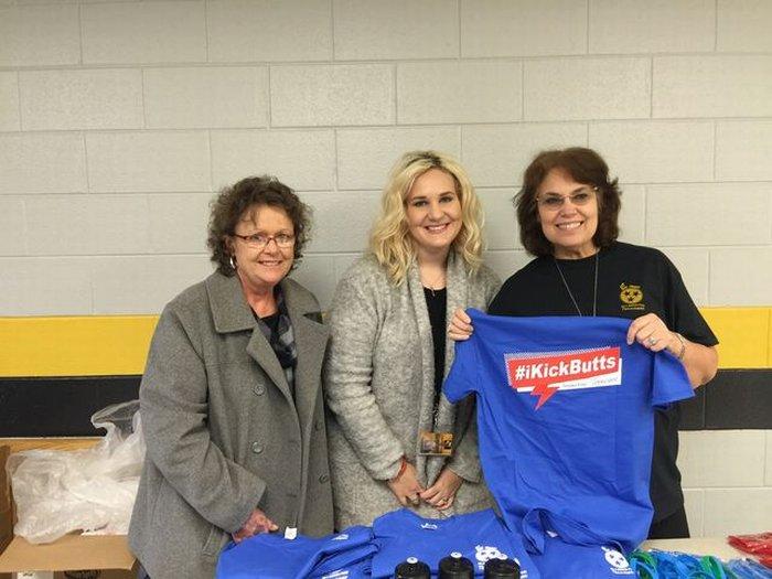 DWS Kick Butts T-shirts donated by St. Thomas hospital.