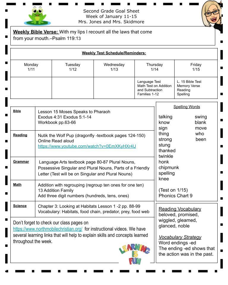 Goal Sheet for Jan 4-8