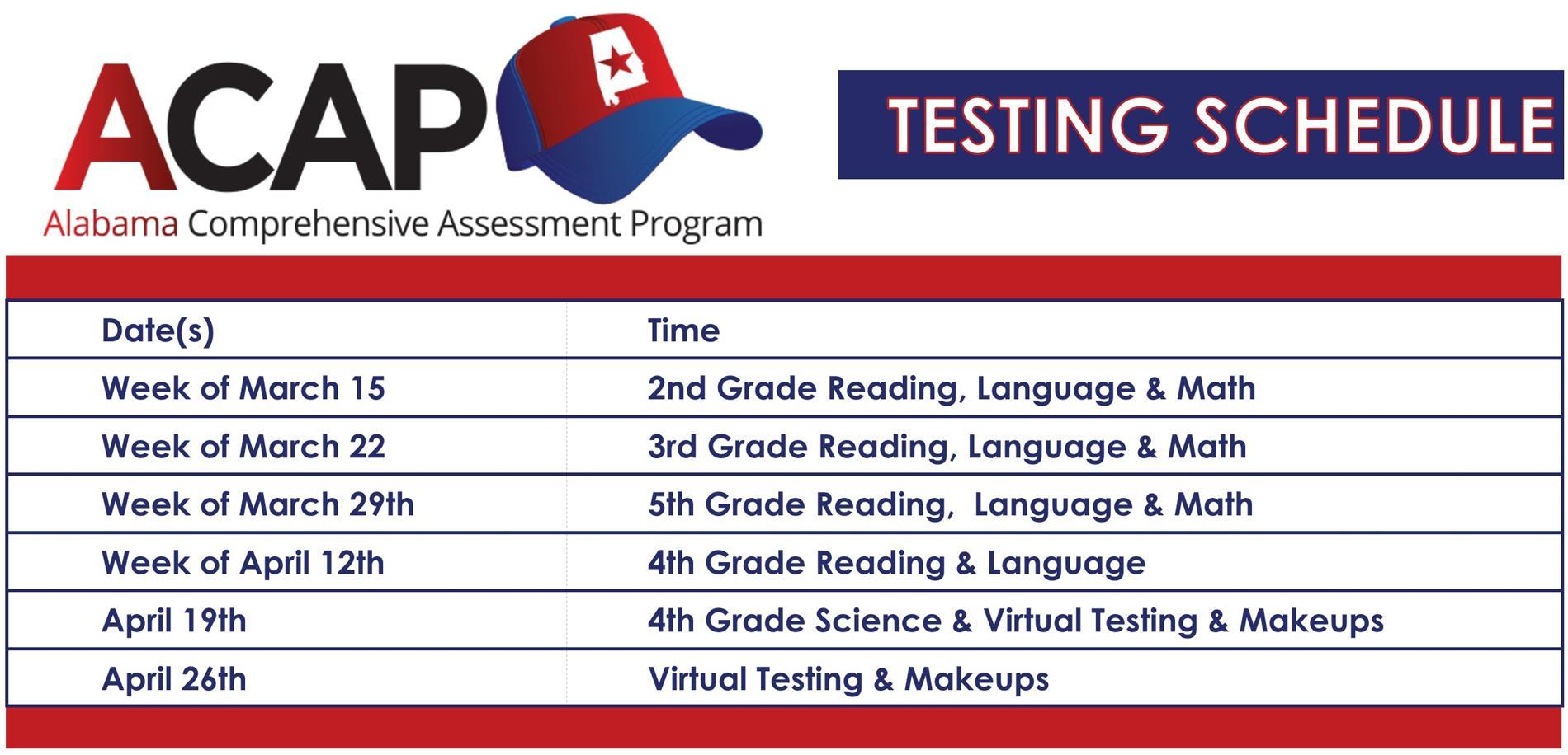 ACAP Testing Schedule