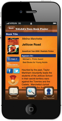 YALSA Bookfinder app showing on the screen of a cell phone