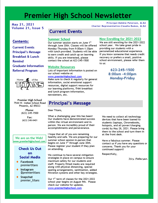 Newsletter page 1 5.25.21