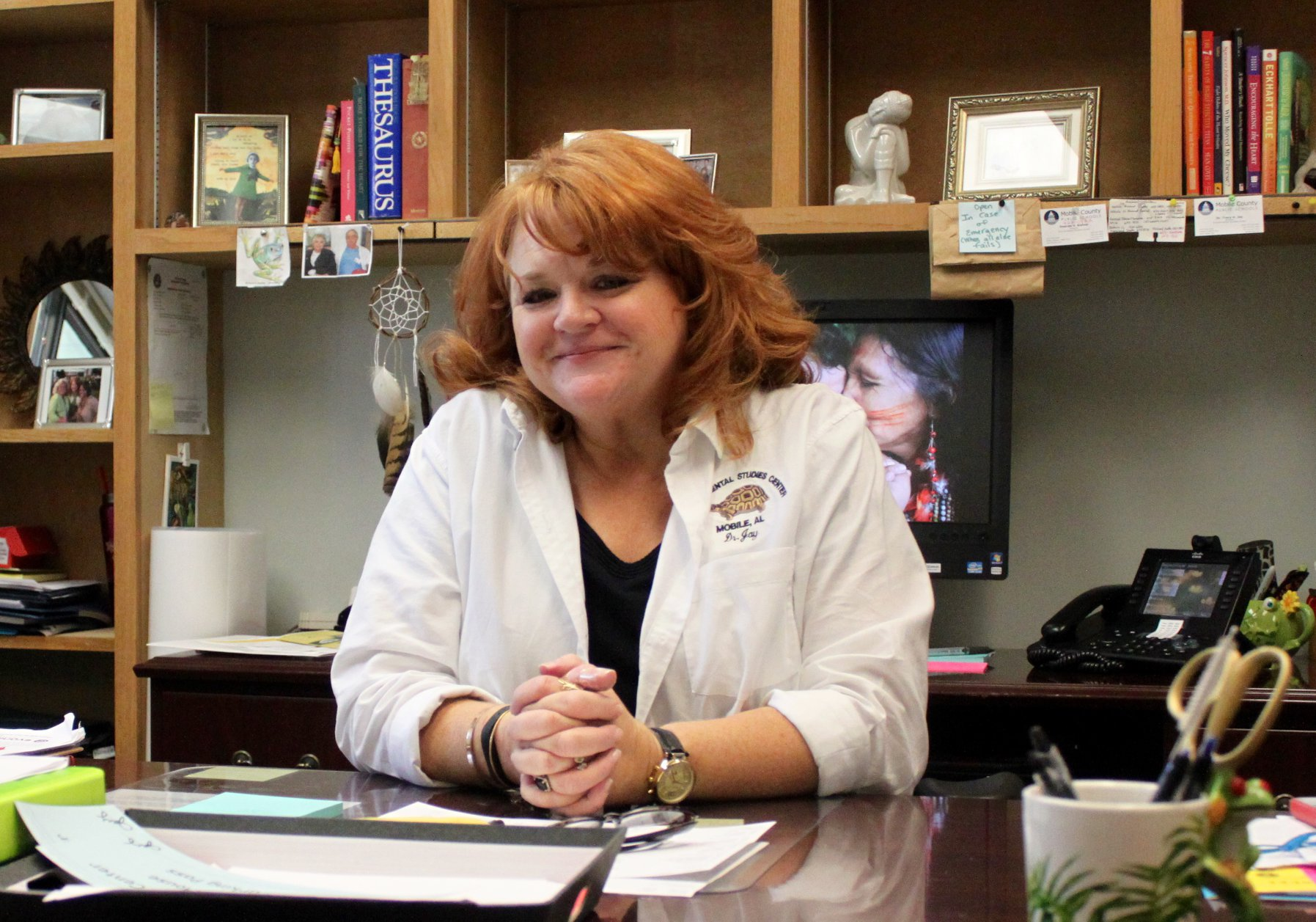 Dr. Jay at her desk