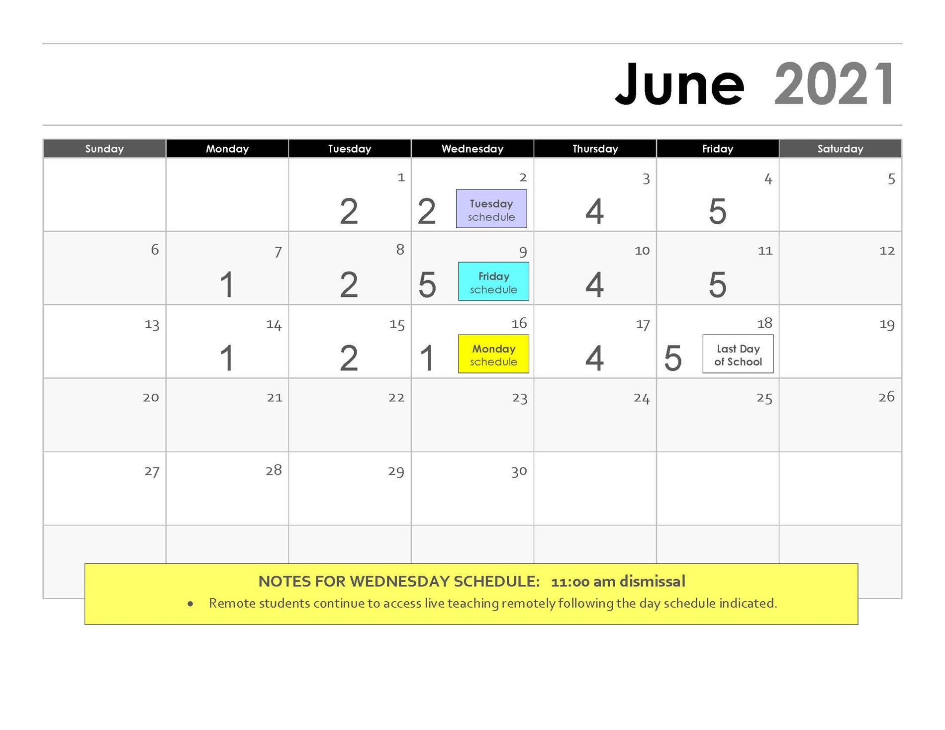 March Rotation Calendar